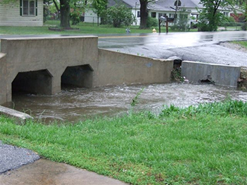 Urban stromwater runoff into ditch
